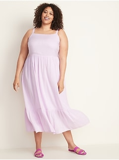 Fit & Flare Plus-Size Tiered Maxi Dress