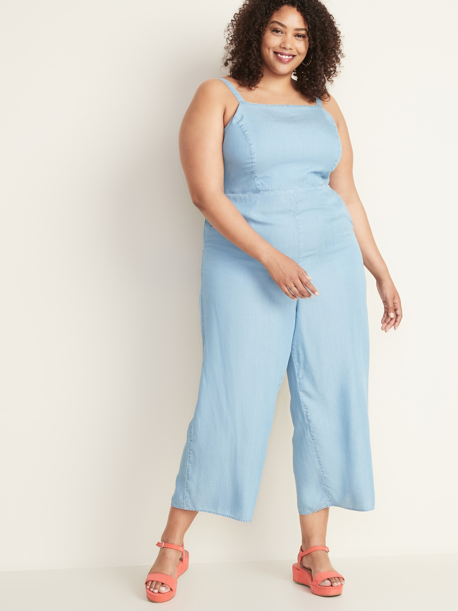 Chambray Square-Neck Plus-Size Cami Jumpsuit
