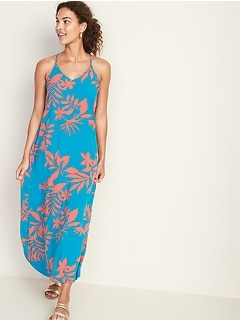 V-Neck Maxi Shift Dress for Women