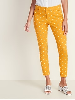 Mid-Rise Printed Pixie Ankle Pants for Women