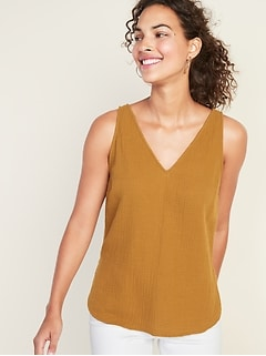 Textured-Weave V-Neck Sleeveless Top For Women