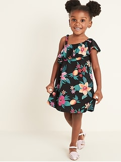 One-Shoulder Floral Swing Dress for Toddler Girls