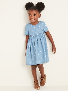 Faux-Wrap Chambray Shirt Dress for Toddler Girls