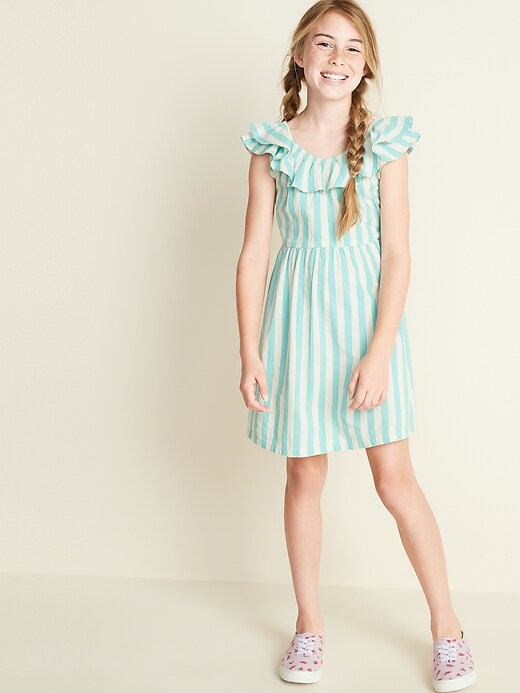 Fit & Flare Ruffle-Trim Dress for Girls