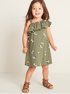 Floral One-Shoulder Swing Dress for Toddler Girls
