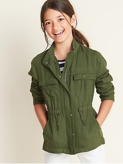 Linen-Blend Snap-Front Utility Jacket for Girls