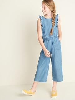 Ruffled Chambray Jumpsuit for Girls