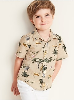 Safari Animal-Print Linen-Blend Shirt for Toddler Boys