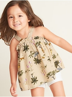 Printed Linen-Blend Tank for Toddler Girls