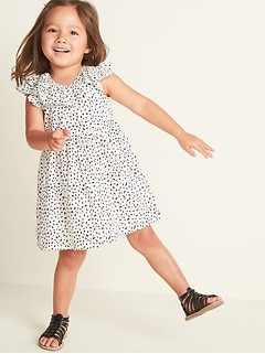 Printed Double-Ruffle Fit & Flare Dress for Toddler Girls