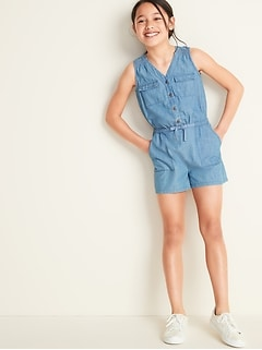 Sleeveless Chambray Utility Romper for Girls