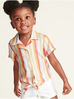 Striped Slub-Weave Tie-Hem Getaway Shirt for Toddler Girls