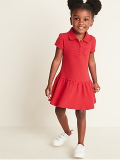Uniform Pique Polo Dress for Toddler Girls