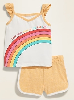 Graphic Pocket Tank & Dolphin-Hem Shorts Set for Baby