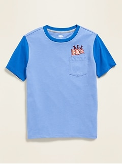 Embroidered-Graphic Pocket Tee for Boys