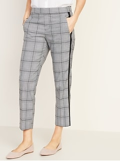 Mid-Rise Plaid Pull-On Straight Pants for Women