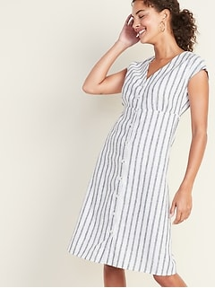 Striped Linen-Blend Button-Front V-Neck Midi for Women