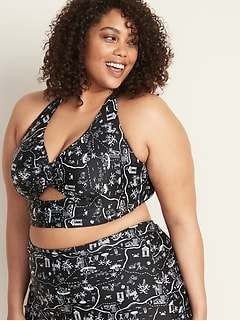 Tie-Front Plus-Size Long-Line Halter Swim Top