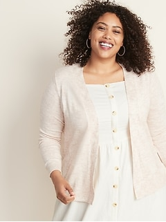 Plus-Size Short Open-Front Sweater