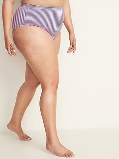 High-Waisted Secret-Slim Textured-Stripe Plus-Size Swim Bottoms