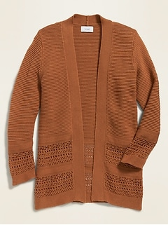 Textured-Stitch Open-Front Sweater for Girls