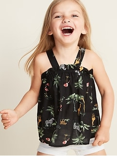 Printed Wide-Strap Tank for Toddler Girls
