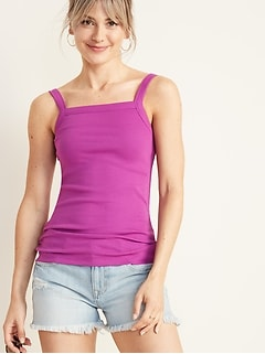 Slim-Fit Square-Neck Rib-Knit Tank for Women