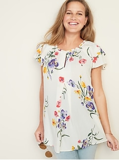 Maternity Floral-Print Tiered-Ruffle Sleeve Blouse