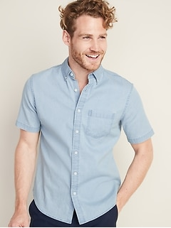 Slim-Fit Built-In Flex Chambray Shirt for Men