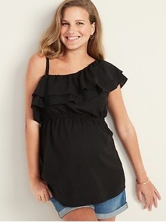 Maternity Ruffle-Trim One-Shoulder Top