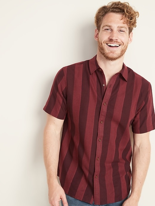 Slim Fit Linen Blend Dobby Stripe Shirt For Men by Old Navy