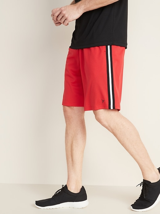 Go-Dry Side-Stripe Mesh Shorts for Men - 10-inch inseam