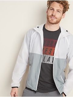 Color-Blocked Mesh-Lined Nylon Windbreaker for Men