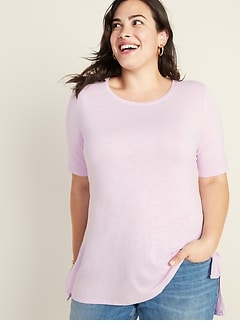 Luxe Slub-Knit Plus-Size Tunic Tee