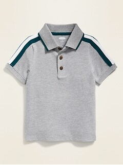 Shoulder-Stripe Pique Polo for Toddler Boys