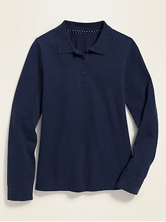 Uniform Long-Sleeve Pique Polo for Girls
