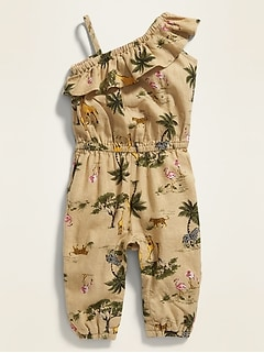 Printed One-Shoulder Linen-Blend Jumpsuit for Baby