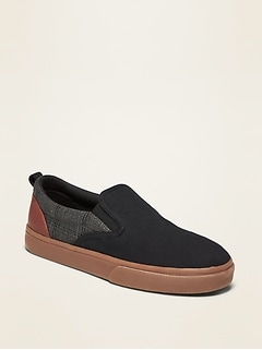 Brushed-Twill Print-Blocked Slip-Ons for Boys