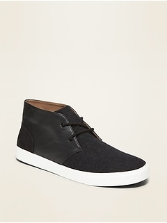Brushed Felt/Faux-Leather Sneakers for Men