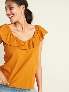 Ruffled-Neck Slub-Weave Top for Women