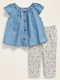 Flutter-Sleeve Top and Pants Set for Baby