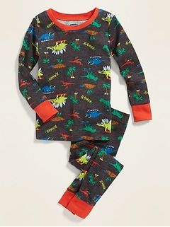 Dinosaur-Print Sleep Set For Toddler Boys & Baby
