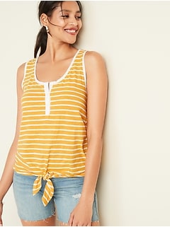 Striped Slub-Knit Tie-Hem Henley Sleeveless Top For Women
