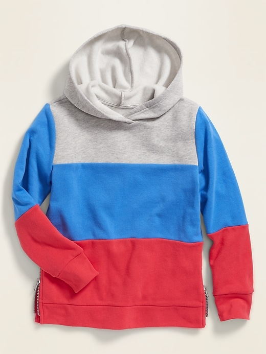 Color-Blocked Side-Zip Pullover Hoodie for Girls