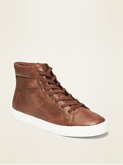 Faux-Leather High-Tops for Men