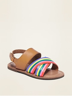 Color-Blocked Faux-Leather Cross-Strap Sandals for Toddler Girls