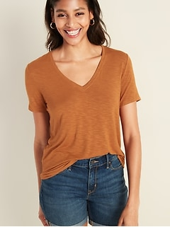 Luxe Slub-Knit V-Neck Tee for Women