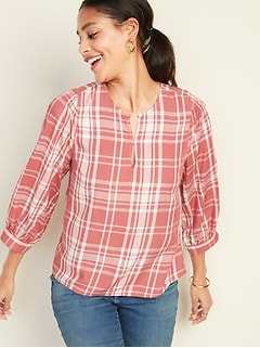 Plaid Balloon-Sleeve Blouse for Women