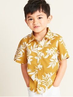 Built-In Flex Tropical-Print Shirt for Toddler Boys