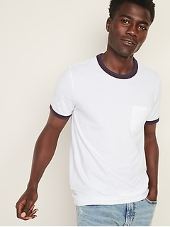 Soft-Washed Double-Bound Ringer Pocket Tee for Men